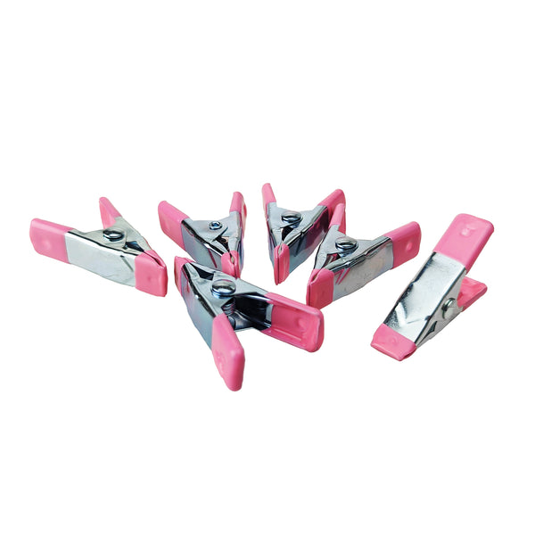Metal Craft Clamps Clip, Pink/Silver, 2-Inch, 6-Count