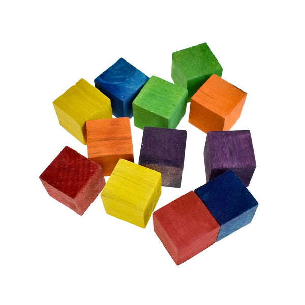 Multi-Colored Wooden Cube Blocks, 3/4-Inch, 12-Piece