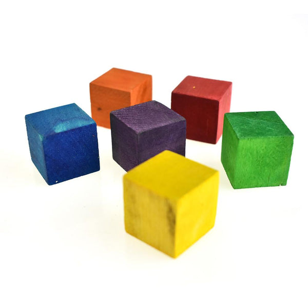 Multi-Colored Wooden Cube Blocks, 1-Inch, 6-Piece