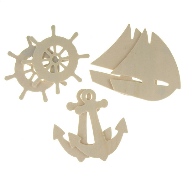 Nautical Shapes Wooden Cut-Outs, Ivory, 4-Inch, 6-Count