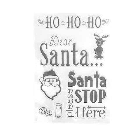 Dear Santa Stop Here Christmas Holiday Clear Stamps, 6-Piece