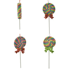 Claydough Glitter Lollipop Ornaments, 6-1/2-inch, 4-Piece