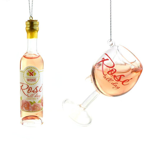 Rosé Wine Glass and Bottle Christmas Ornaments, 2-Piece