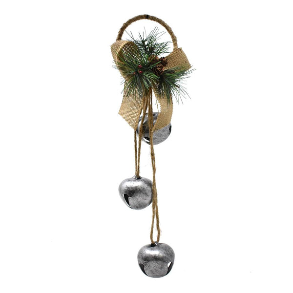 Metal Bells with Burlap Bow Door Hanging Christmas Ornament, Silver, 14-Inch