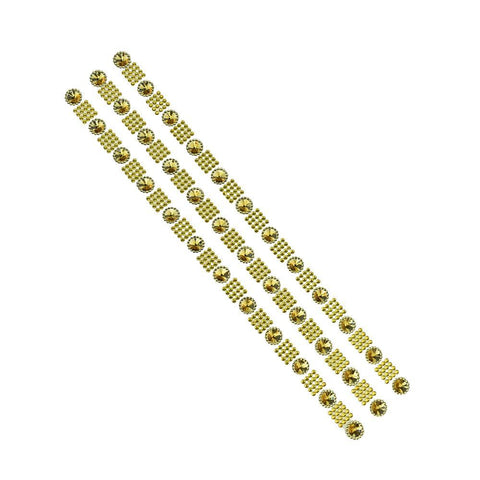 Square Diamond with Rhinestud Flower Stickers, 1/2-Inch, 3-Strips