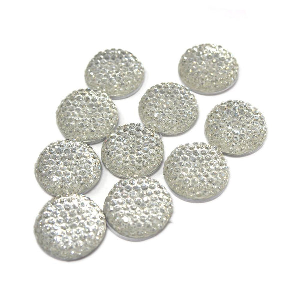 Round Self Adhesive Diamond Cluster Gems, Clear, 16mm, 10-Count