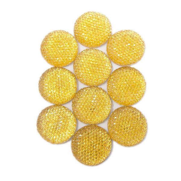 Round Self Adhesive Diamond Cluster Gems, Gold, 24mm, 10-Count