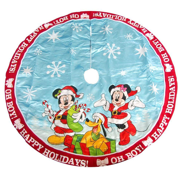 Mickey and Minnie Disney Christmas Tree Skirt, Red/Blue, 48-Inch