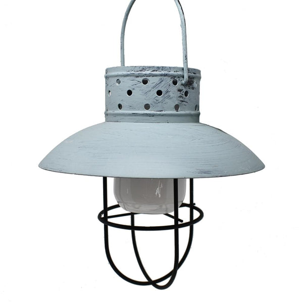 Solar-Powered Rustic Hanging Lamp, Blue, 12-Inch
