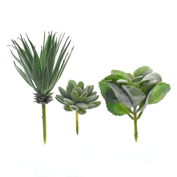 Artificial Dark Green Succulent Flower Picks, 3-Piece