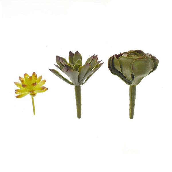 Various Artificial Succulent Flower Picks, 3-Piece