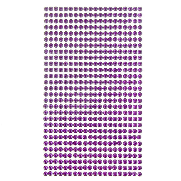Round Adhesive Diamond Gem Stickers, Purple, 4mm