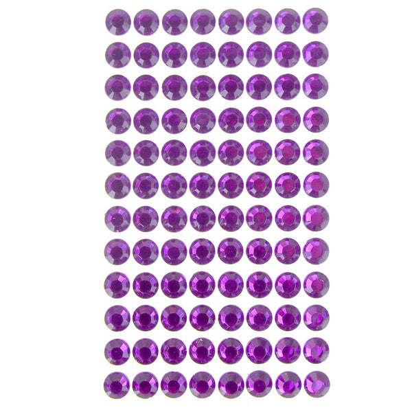 Round Adhesive Diamond Gem Stickers, Purple, 10mm