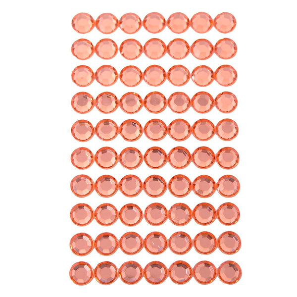 Round Adhesive Diamond Gem Stickers, Orange, 12mm