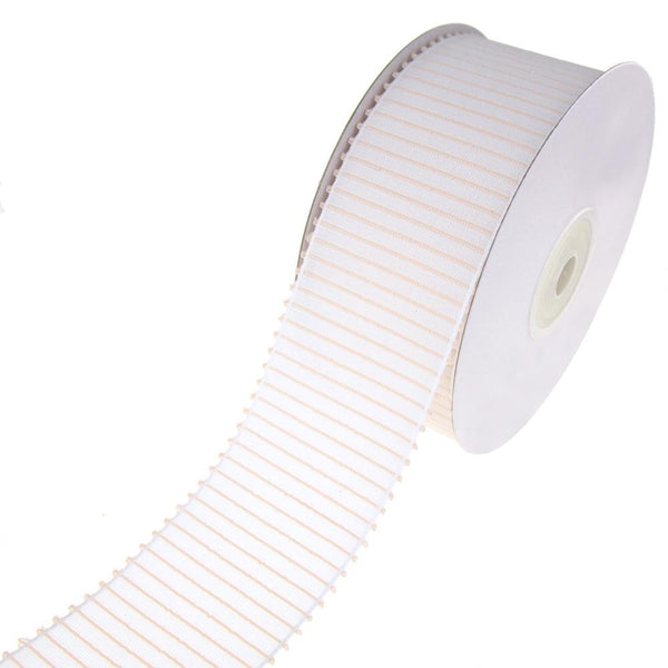 Decorative Vertical Lines Woven Ribbon, White, 1-1/2-Inch, 10-Yard