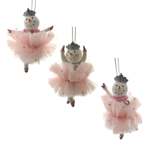 Resin Snowlady Ballerina Ornaments, 4-Inch, 3-Piece