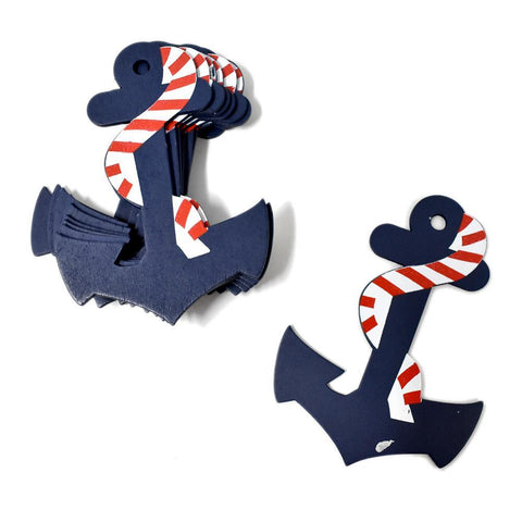 Large Nautical Anchor Wooden Baby Favors, Navy, 4-1/2-Inch