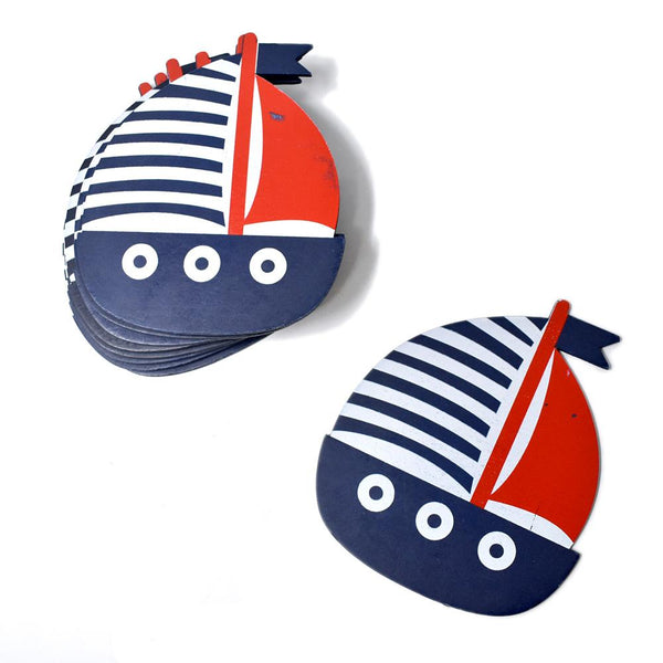 Large Nautical Sailboat Wooden Baby Favors, Navy, 4-1/2-Inch