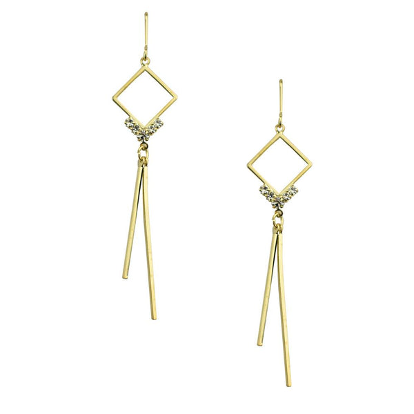 Diamond Shaped Drop Earrings with Bar Hinges, Gold, 2-1/2-Inch