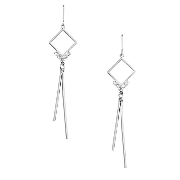 Diamond Shaped Drop Earrings with Bar Hinges, Silver, 2-1/2-Inch