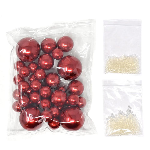 Vase Filler Pearls with Aqua Jelly Beads, Red, 5/16-Pound