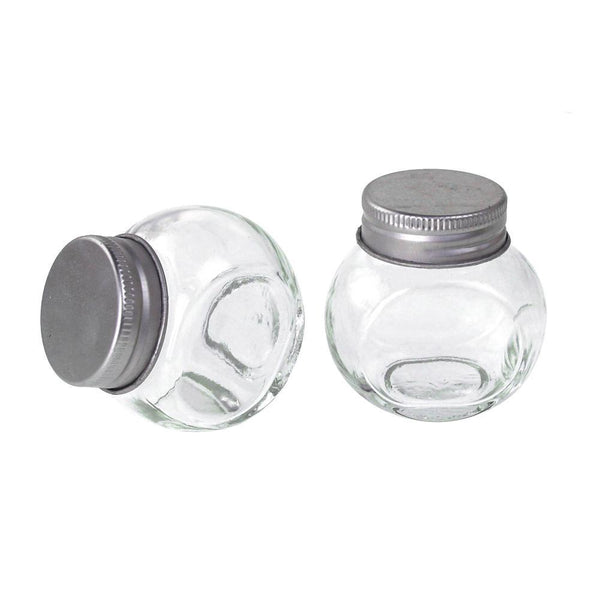 Clear Glass Tilted Candy Jar with Silver Lid, 2-Inch, 12-Count