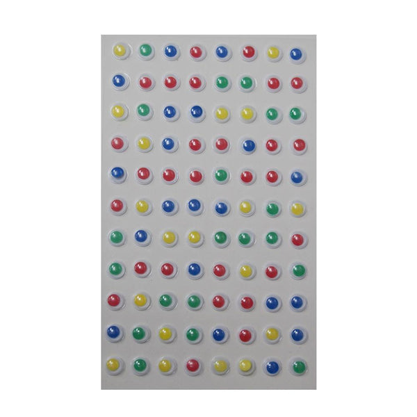 Mini Googly Eyes Self Adhesive Sticker, Assorted Color, 1/4-Inch, 88-Count