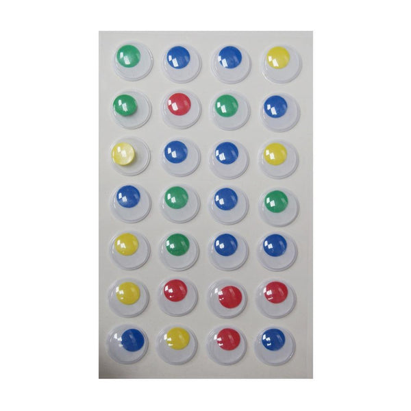 Small Googly Eyes Self Adhesive Sticker, Assorted Color, 3/4-Inch, 28-Count