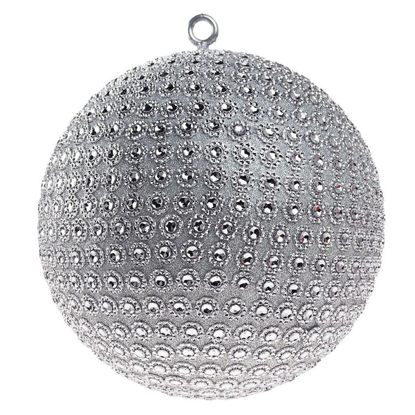 Hanging Large Glitter Ball with Rhinestones, Silver, 10-Inch