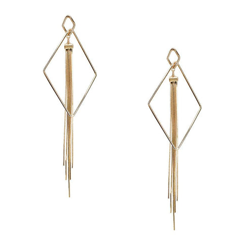 Hanging Diamond Tassel Earrings, 6-Inch