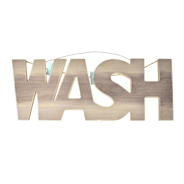 "Wooden ""Wash"" Plaque with Clothespins, 23-Inch"
