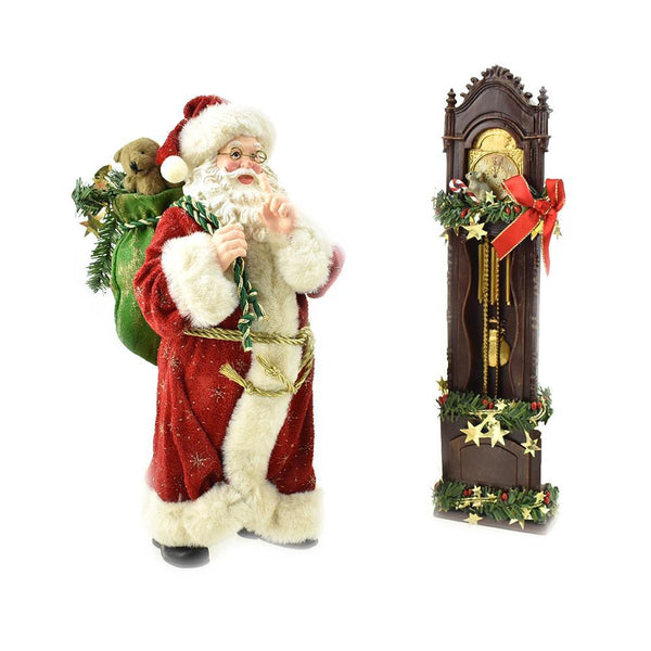 Santa & Clock Figurine Christmas Decor, 12-Inch, 2-Piece
