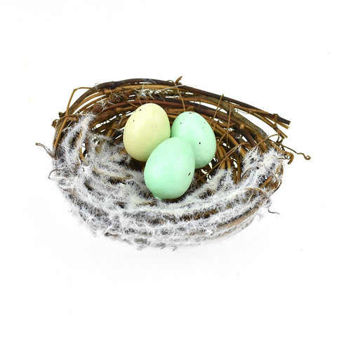 Artificial Snow Covered Wooden Birdnest Decoration, 4-Inch