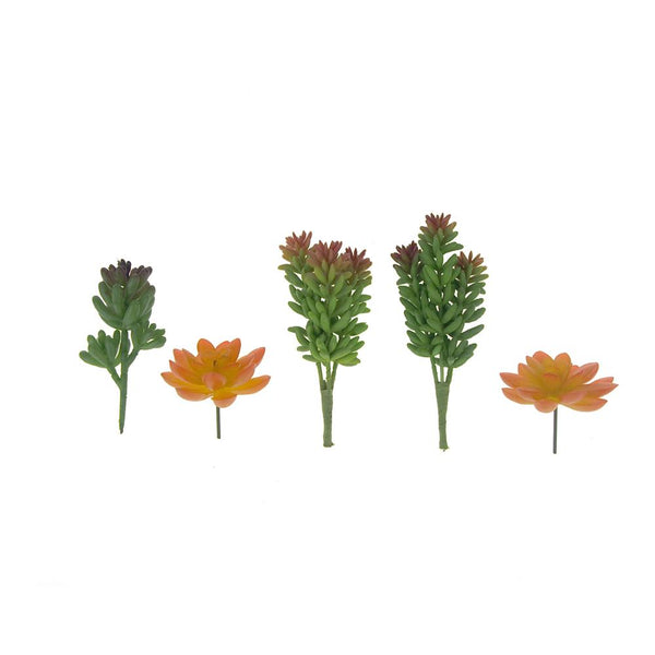 Artificial Green and Orange Succulent Picks, 5-Piece