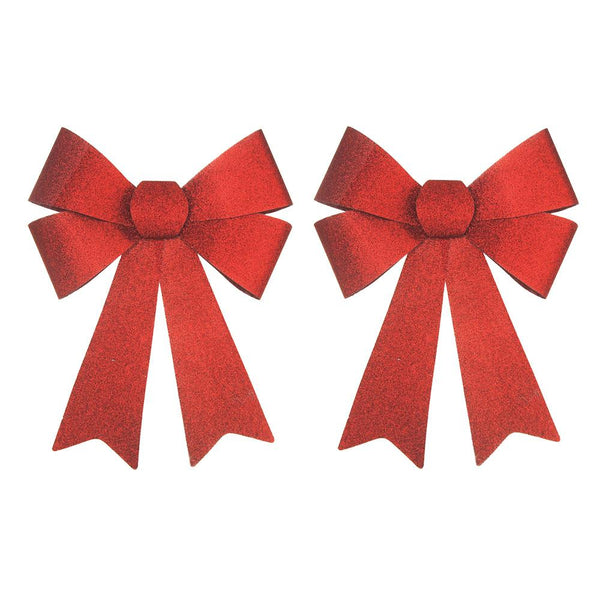 Plastic Christmas Large Bows with Glitters, Red, 14-Inch, 2-Piece