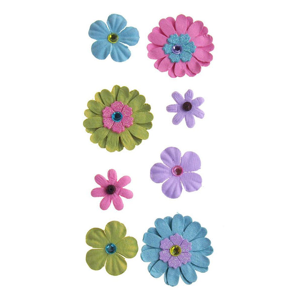 Self Adhesive Assorted Paper Flowers 3D, 8-Count, 6-Count, Luau