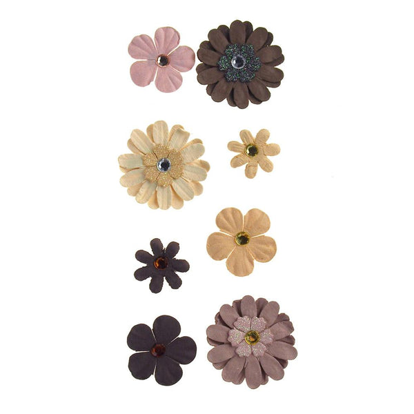 Self Adhesive Assorted Paper Flowers 3D, 8-Count, Almond Mocha