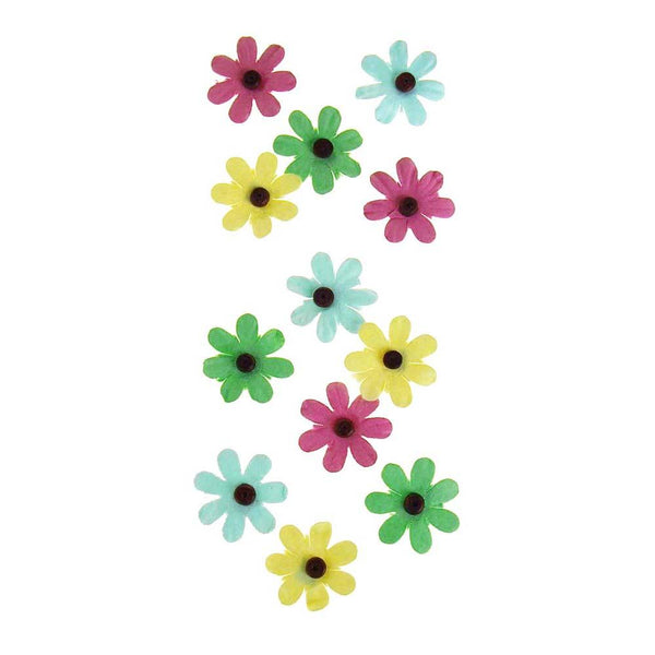 Self Adhesive Assorted Paper Flowers 3D, 1-Inch, 12-Count, Luau