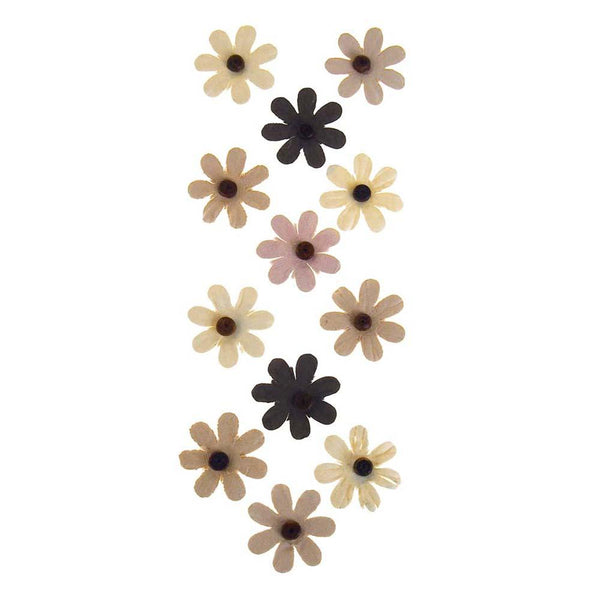 Self Adhesive Assorted Paper Flowers 3D, 1-Inch, 12-Count, Almond Mocha