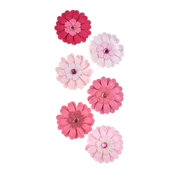 Adhesive Paper Craft Glitter Flowers, 1-1/2-Inch, 6-Piece, Pink Berry