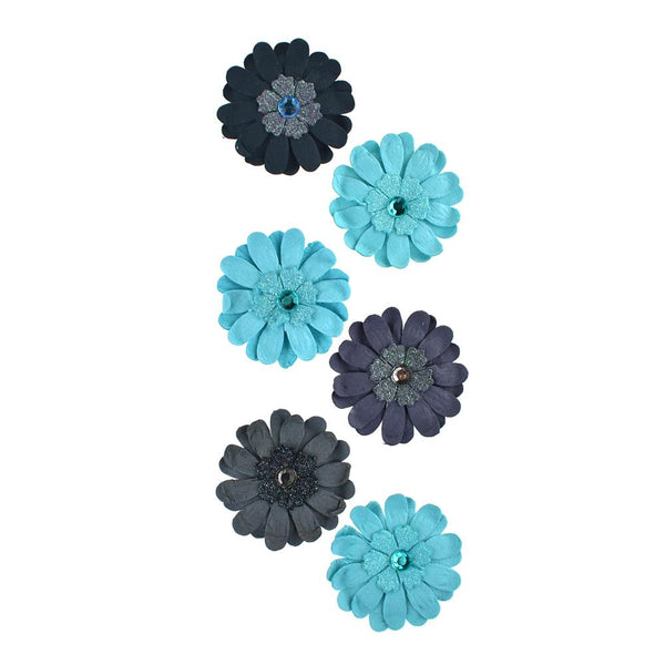 Adhesive Paper Craft Glitter Flowers, 1-1/2-Inch, 6-Piece, Paradise