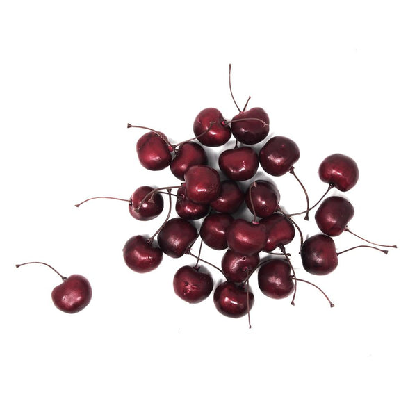 Artificial Lifelike Cherries Party Decoration, 1-Inch, 24-Count