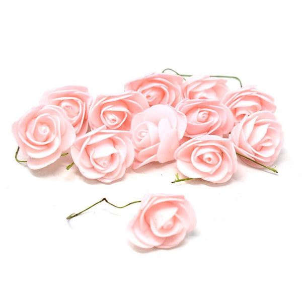 Foam Rose Flower with Wired Stem, Light Pink, 1-1/2-Inch, 12-Count