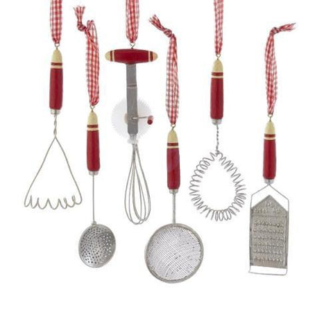 Assorted Kitchen Tools Metal Christmas Ornaments, 5-1/2-Inch, 6-Piece
