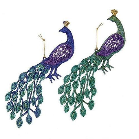 Acrylic Glittered Peacock Christmas Ornaments, Purple, 4-1/2-Inch, 2-Piece