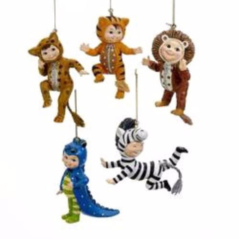 Baby Animals Onesie Resin Christmas Ornaments, 3-1/2-Inch, 5-Piece