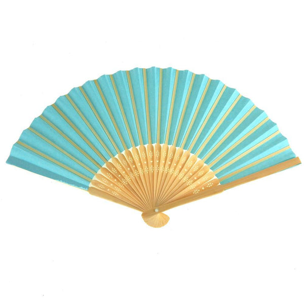 Paper Folding Hand Fan w/ Wooden Handle, 8-Inch, Aqua