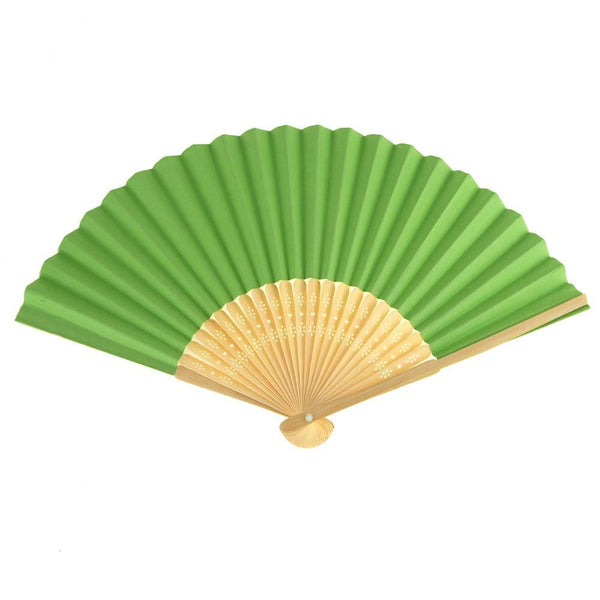 Paper Folding Hand Fan w/ Wooden Handle, 8-Inch, Lime