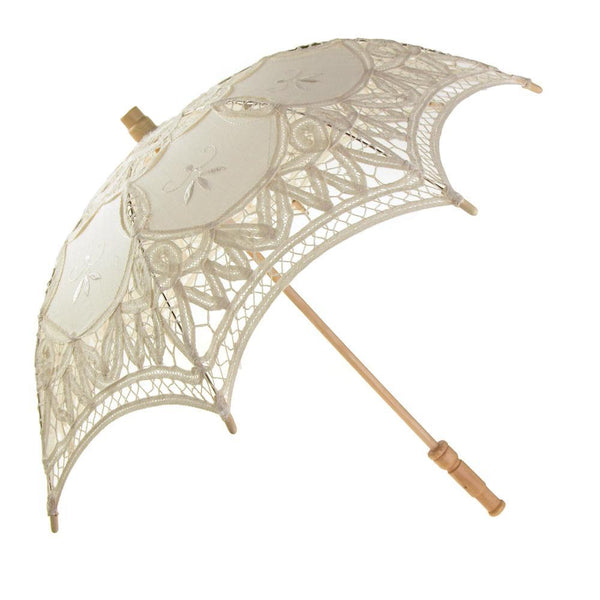 Vintage Cotton Lace Bridal Wedding Parasol, Ivory, 21-D