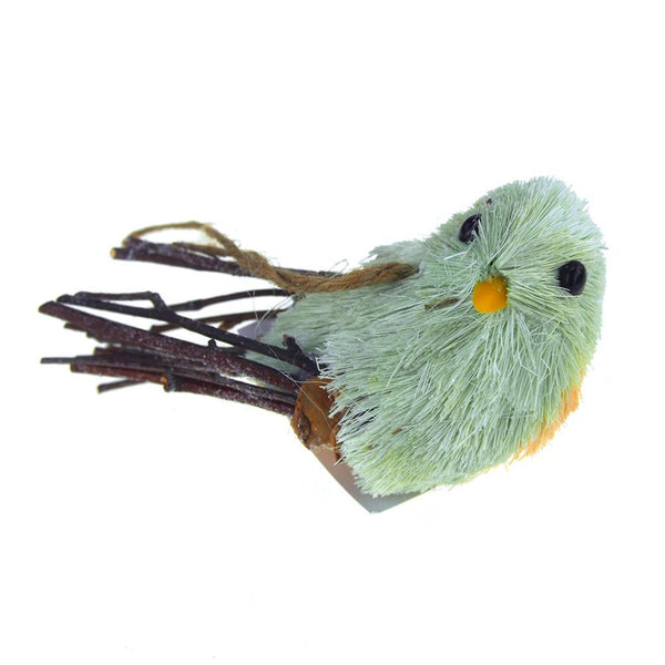 Hanging Straw Perched Bird Christmas Tree Ornament, Mint Green/Yellow, 2-Inch
